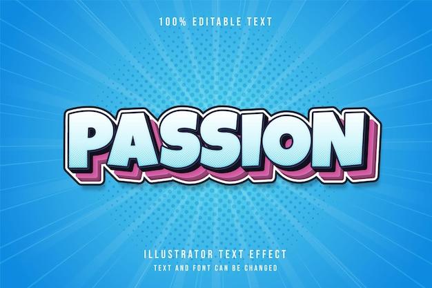 Passie, 3d bewerkbaar teksteffect blauwe gradatie roze lagen komische tekststijl