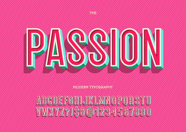 Passie lettertype trendy typografie sans serif-stijl voor boek