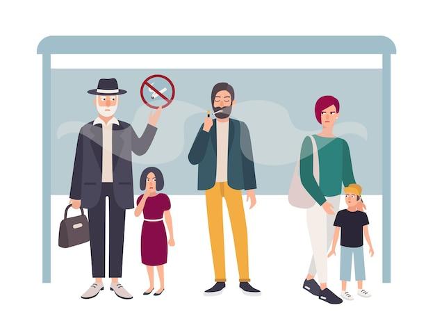 Passief roken concept. man rookt bij een bushalte in de buurt van niet-rokers. kleurrijke vectorillustratie in vlakke stijl.