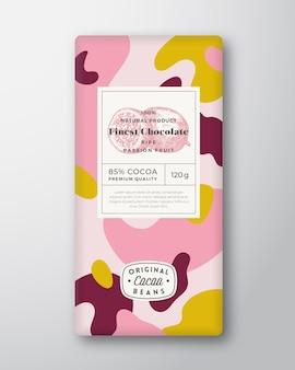 Passievrucht chocolade label abstracte vormen vector verpakking ontwerp lay-out met realistische schaduwen...