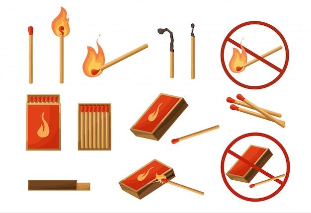 Past bij grote set. brandende lucifer met vuur, geopende luciferdoos, houtskool. lichten. teken geen vuur. vector illustratie cartoon stijl geïsoleerd