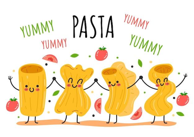 Pasta cartoon doodle karakters mascote concept vector platte cartoon grafisch ontwerp illustratie