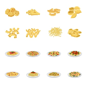 Pasta cartoon icon set, italiaanse pasta.