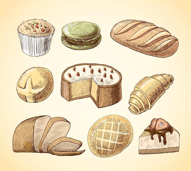 Pasta en brood decoratieve pictogrammen ingesteld
