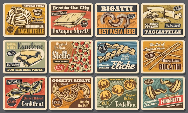 Pasta en spaghetti macaroni retro posters van eten uit de italiaanse keuken. fusilli, cannelloni, tagliatelle en lasagne, eliche, rigatoni, tortellini en bucatini, conchiglie en stelle pasta
