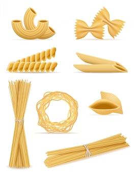 Pasta instellen vectorillustratie