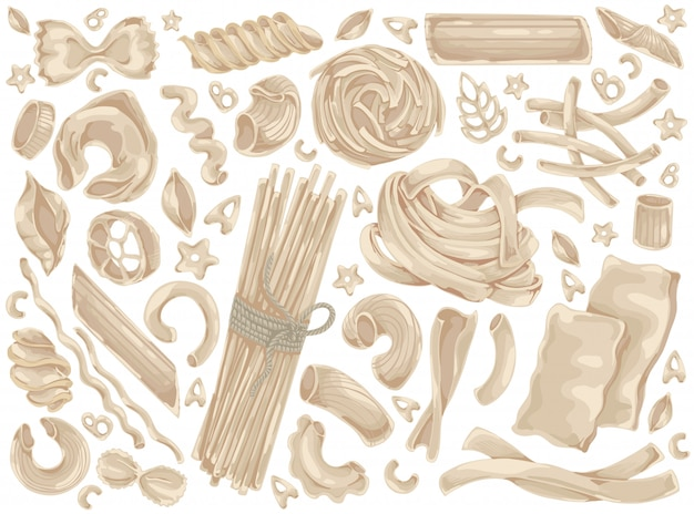 Pasta, noedels, spaghetti, voedsel doodle set
