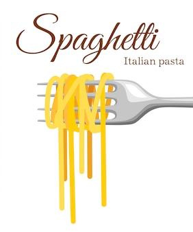 Pasta roll op de vork. italiaanse deegwaren met vorksilhouet. zwarte vork met spaghetti op de gele achtergrond. hand met een vork met spaghetti.