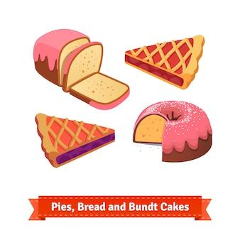 Pastei, brood en bundtaart