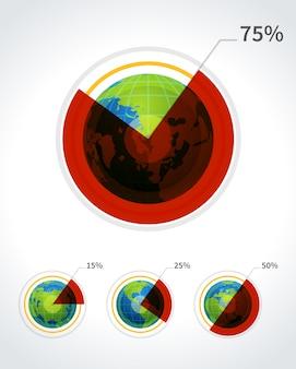 Pastei ronde grafiek en globe vector illustratie set fo rbusiness infographics ontwerp