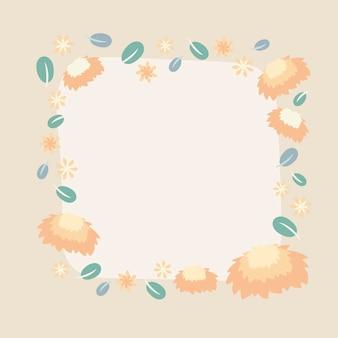 Pastel bloem frame, vector, schattige illustratie