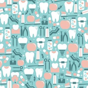 Pastel gekleurde tandheelkundige zorg naadloze patroon