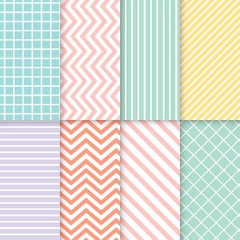 Pastel gemengde naadloze patroon vector set