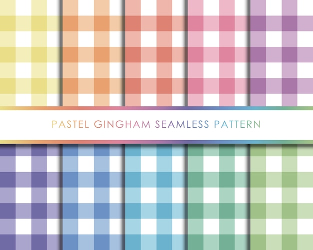 Pastel gingham naadloze patroon ingesteld