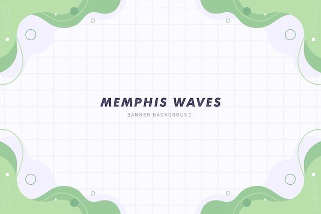 Pastel groene memphis golven vloeibare abstracte achtergrond voor brochure folder sjabloon voor spandoek design