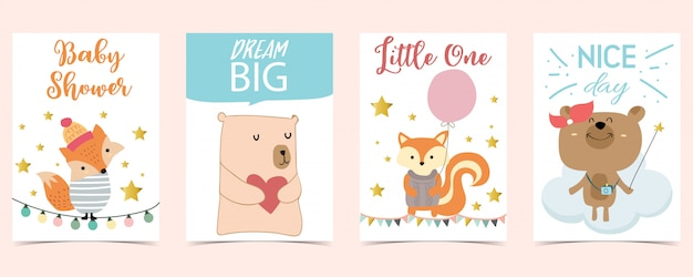 Pastel kaart met beer, vos, ballon