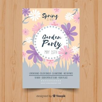Pastel kleur lente partij poster