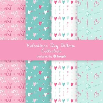 Pastel kleuren valentijn patronen