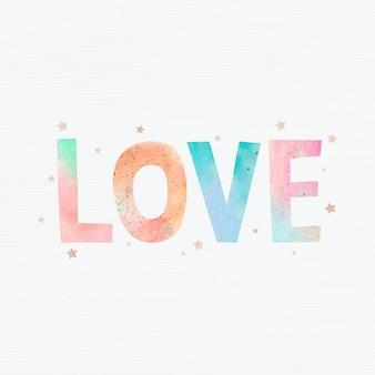 Pastel liefde woord typografie vector