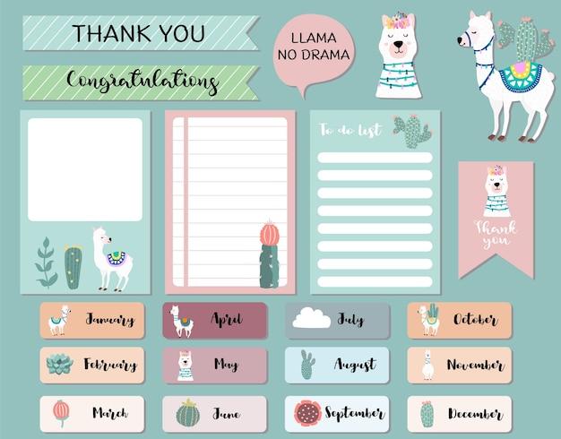 Pastel maandkalender planner met lama, alpaca, cactus. kan worden gebruikt voor afdrukbare, plakboek, dagboek