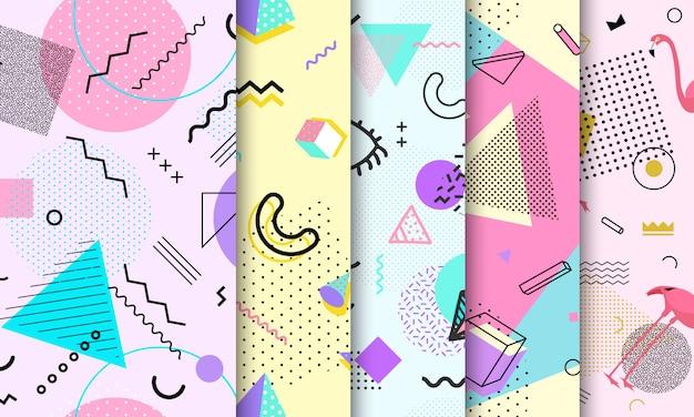 Pastel memphis naadloze patroon set
