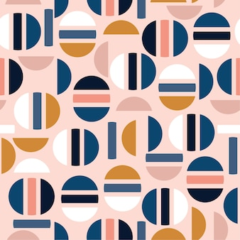 Pastel moderne helft van cirkel en geometrische naadloze patroon