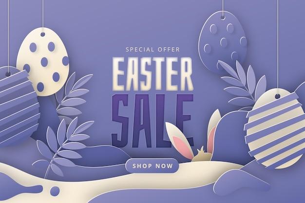 Pastel monochroom pasen verkoop illustratie in papieren stijl