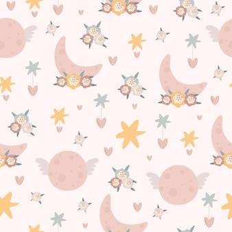 Pastel naadloos patroon met maan
