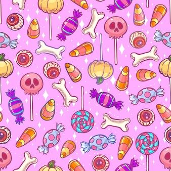 Pastel naadloos patroon van leuke halloween-snoepjes en suikergoed