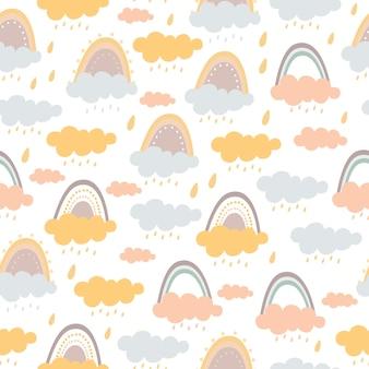 Pastel naadloze patroon van regenboog en wolken