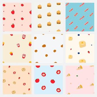 Pastel naadloze voedsel patroon achtergrond