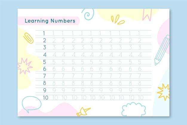 Pastel nummer tracering werkblad