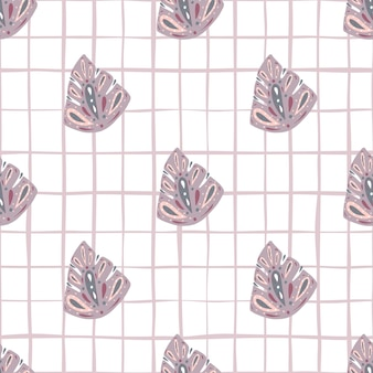 Pastel paarse abstracte monstera elementen naadloze doodle patroon.