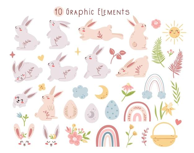 Pastel paashaas of konijn set, boho paasei, regenboog, bloemenbundel.