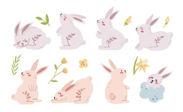 Pastel pasen konijn of konijn kinderen clipart set. pasen-babydieren en lentebloemen op wit worden geïsoleerd dat