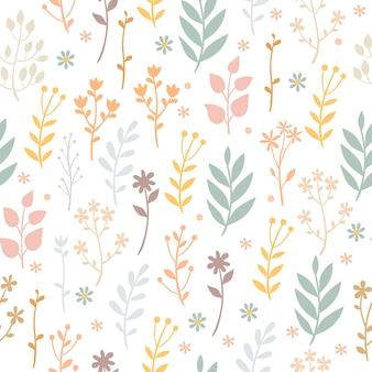 Pastel patroon met planten