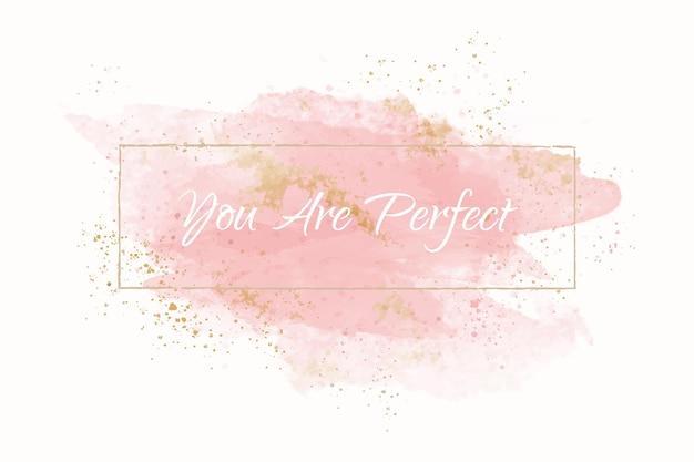 Pastel perzik aquarel met gouden frame