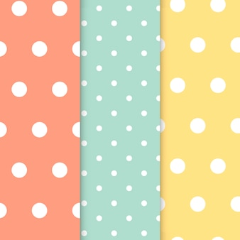 Pastel polka dot naadloze patroon vector set