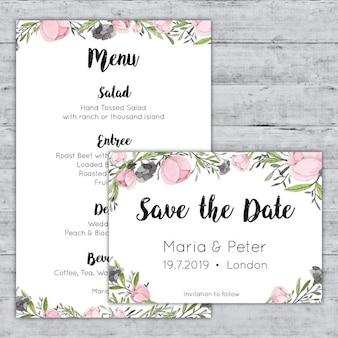 Pastel roze aquarel menu en bewaart de datum kaarten