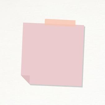 Pastel roze briefpapier dagboek sticker vector