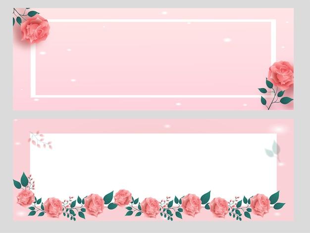 Pastel roze en witte banner versierd met roze bloemen Premium Vector
