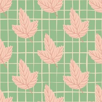 Pastel roze esdoorn verlaat naadloze cartoon patroon