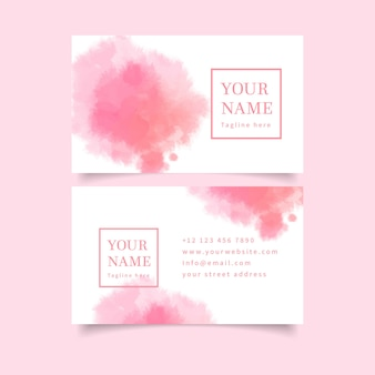 Pastel roze kleuren en penseelstreken visitekaartje