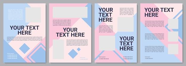 Pastel roze promotionele brochure sjabloon. bedrijfsinfo. flyer, boekje, folder afdrukken, omslagontwerp met kopieerruimte. jouw tekst hier. vectorlay-outs voor tijdschriften, jaarverslagen, reclameposters