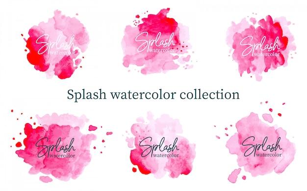 Pastel roze splash aquarel collectie