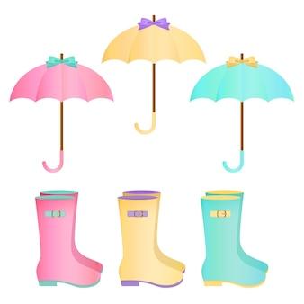Pastel schattige paraplu en regenlaarzen