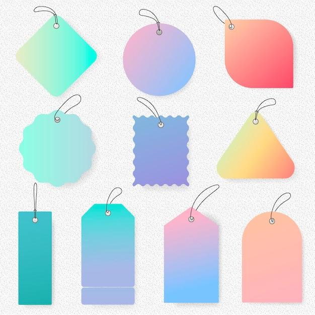 Pastel tag sticker, lege vector eenvoudige clipart tekst ruimte collectie
