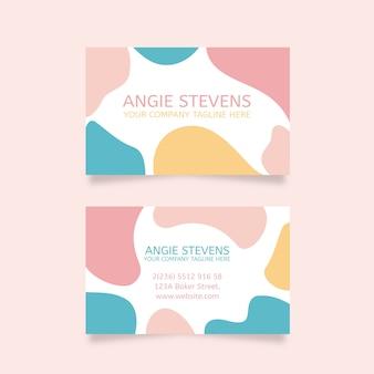 Pastel vlekken kleuren en penseelstreken visitekaartje