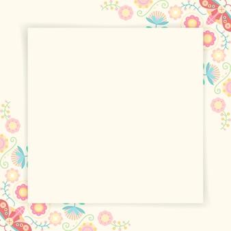 Pastel volkskunst design element frame