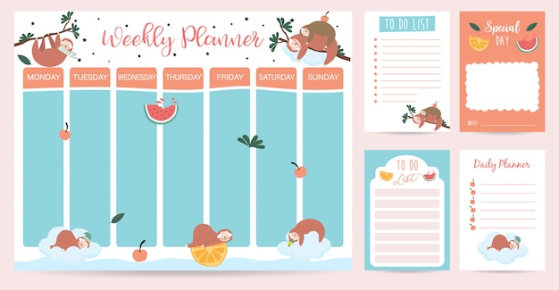 Pastel wekelijkse planner met luiaard, waterverf, sinaasappel en boom